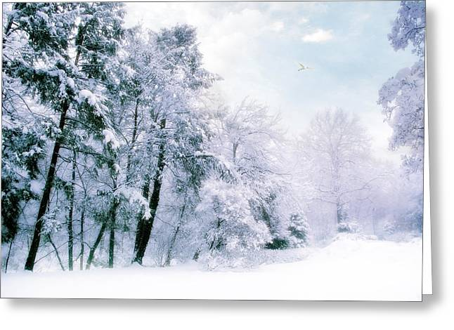 Snowstorm Digital Art Greeting Cards - Winter Blues Greeting Card by Jessica Jenney