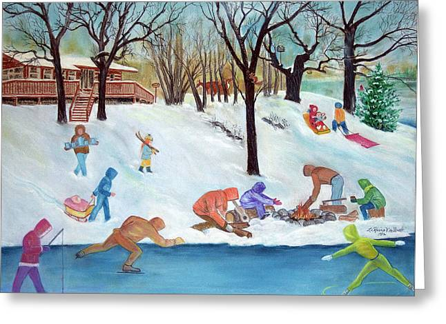 Ice-skating Pastels Greeting Cards - Winter Fun Greeting Card by Rose McIlrath