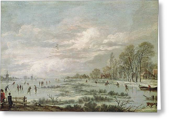 Skaters Greeting Cards - Winter Landscape Greeting Card by Aert van der Neer