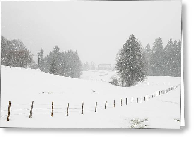 Winter Landscape Greeting Card by Matthias Hauser