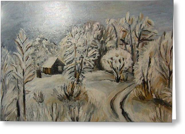 Oil On Cardboard Greeting Cards - Winter Landscape Greeting Card by Sanja  Prsic
