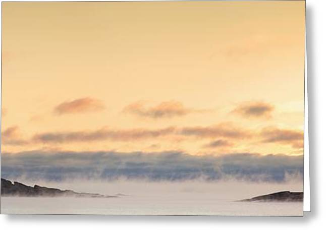 Foggy Day Greeting Cards - Winter Mist On Lake Superior At Sunrise Greeting Card by Susan Dykstra