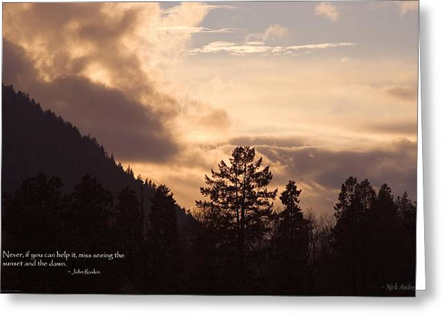 Mick Anderson Greeting Cards - Winter Sunset over Grants Pass Greeting Card by Mick Anderson