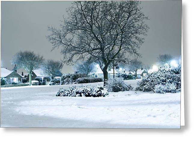Snowy Night Night Greeting Cards - Winter Greeting Card by Svetlana Sewell