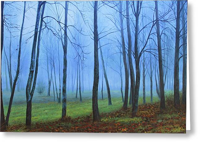 Haunted Woods Greeting Cards - Winter Trees Greeting Card by Conor McGuire