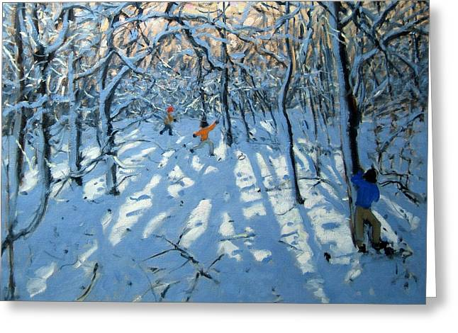 English Landscape Greeting Cards - Winter woodland near Newhaven Derbyshire Greeting Card by Andrew Macara