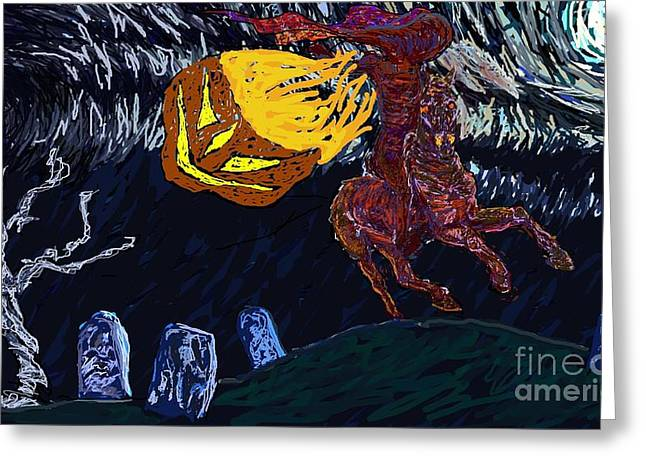 Ichabod Crane Greeting Cards - Witching Hour Greeting Card by Kathy Holman