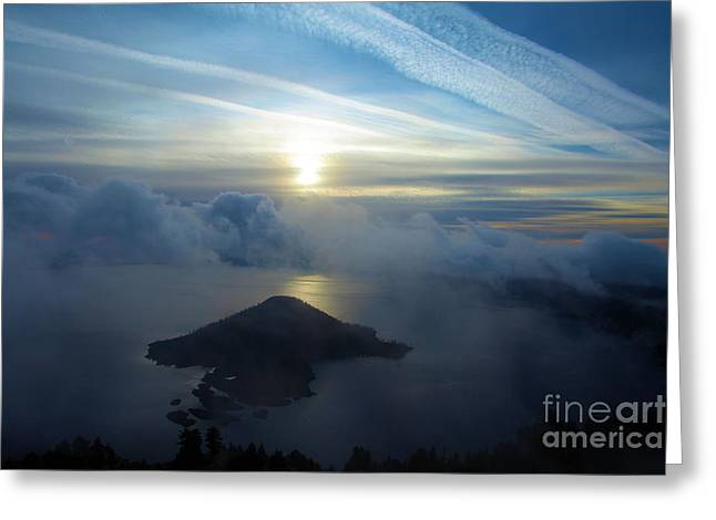Crater Lake Sunset Greeting Cards - Wizard Sunrise Greeting Card by Adam Jewell