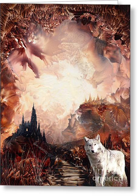 Dungeons Mixed Media Greeting Cards - Wolf Fortress Greeting Card by Elaine Jones