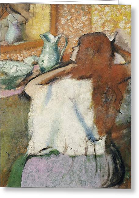 Powder Room Greeting Cards - Woman at her Toilet Greeting Card by Edgar Degas
