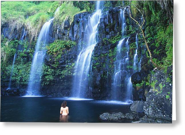 Photo-based Greeting Cards - Woman At Waterfall Greeting Card by Dave Fleetham - Printscapes