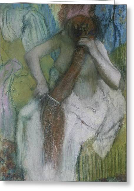 Bath Room Greeting Cards - Woman Combing her Hair Greeting Card by Edgar Degas