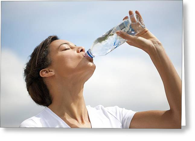 Woman Drinking Bottled Water Greeting Card by