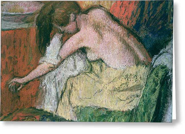 Sitting Pastels Greeting Cards - Woman Drying Herself Greeting Card by Edgar Degas