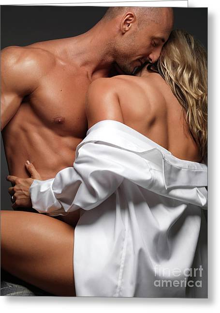 Embrace Greeting Cards - Woman Embracing a Muscular Man Greeting Card by Oleksiy Maksymenko