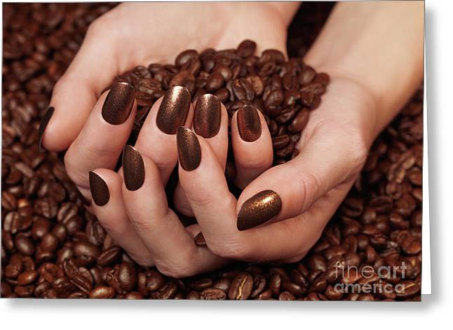 Coffe Greeting Cards - Woman Holding Coffee Beans in Her Hands Greeting Card by Oleksiy Maksymenko