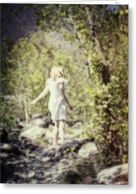 Sole Greeting Cards - Woman In A Forest Greeting Card by Joana Kruse