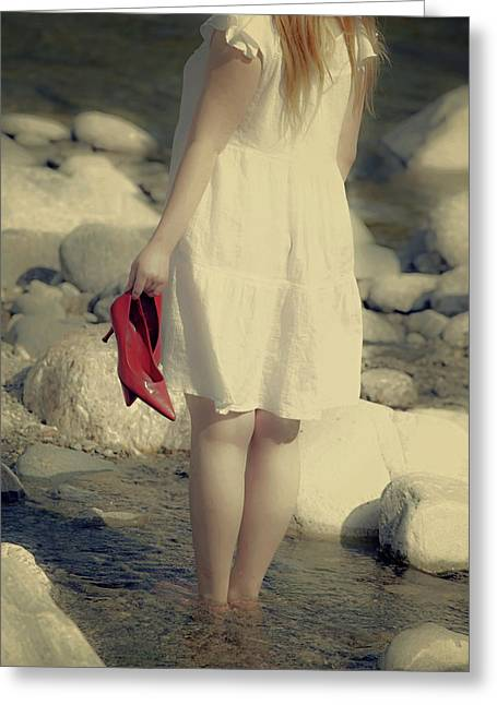 Young Lady Photographs Greeting Cards - Woman In A River Greeting Card by Joana Kruse