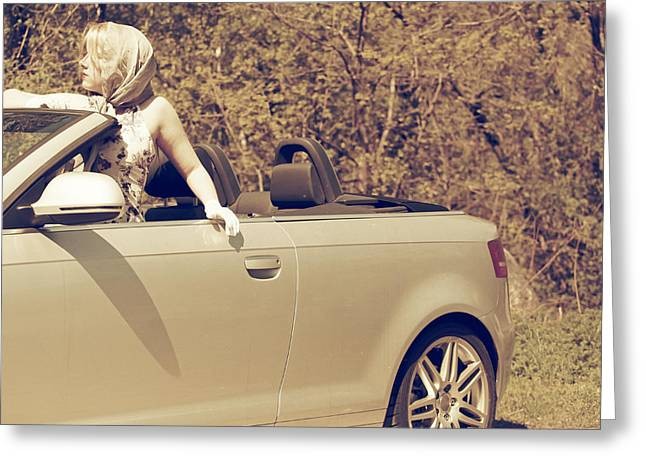Bandana Greeting Cards - Woman In Convertible Greeting Card by Joana Kruse