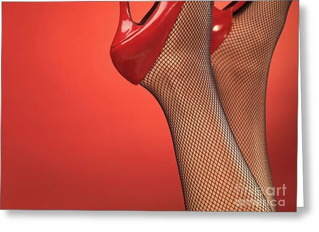 Highheels Greeting Cards - Woman in Red High Heel Shoes Greeting Card by Oleksiy Maksymenko