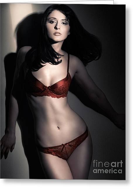 Three-quarter Length Greeting Cards - Woman in Red Lingerie Greeting Card by Oleksiy Maksymenko