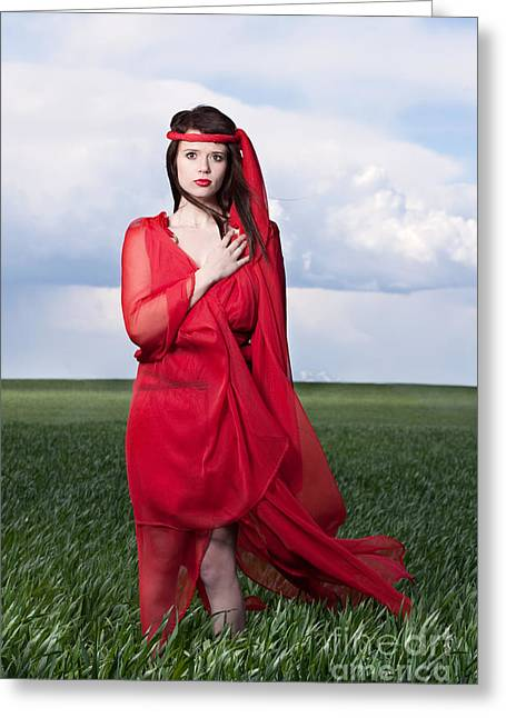 Creative Greeting Cards - Woman in Red Series Greeting Card by Cindy Singleton