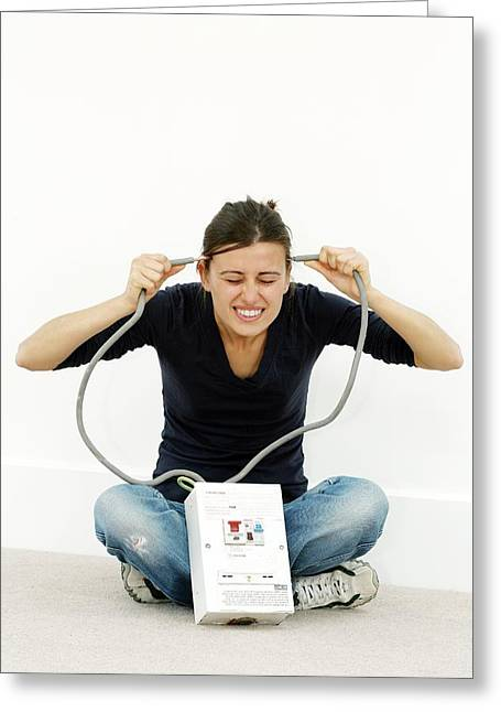 Electrocution Greeting Cards - Woman Joking While Doing Diy Greeting Card by Carlos Dominguez