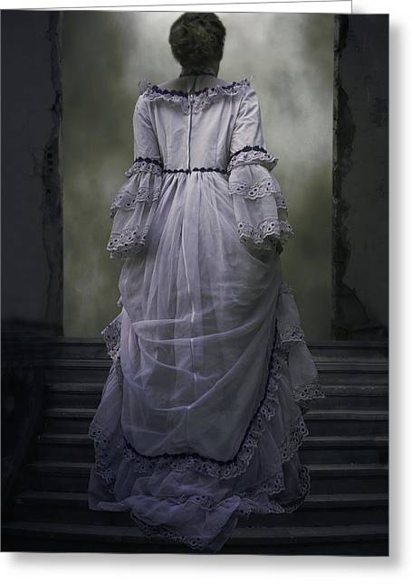 Wedding Garment Greeting Cards - Woman On Steps Greeting Card by Joana Kruse
