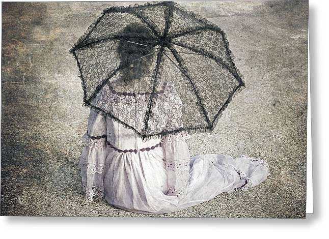 Wedding Garment Greeting Cards - Woman On Street Greeting Card by Joana Kruse