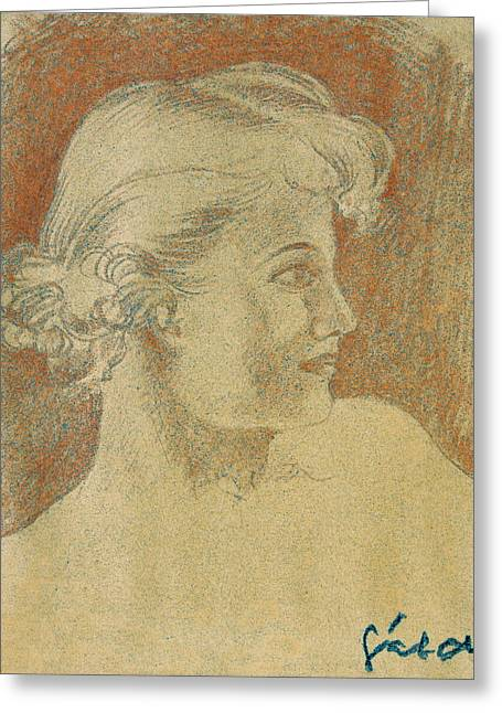 Thin Drawings Greeting Cards - Woman portrait Greeting Card by Odon Czintos