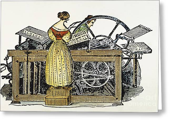 1850s Greeting Cards - WOMAN PRINTER, c1850 Greeting Card by Granger
