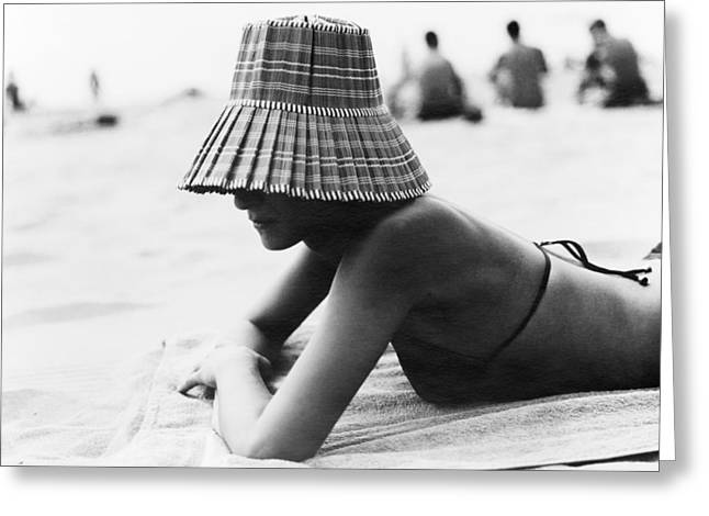 Warm Summer Greeting Cards - Woman Sunbathing Greeting Card by Cristina Pedrazzini