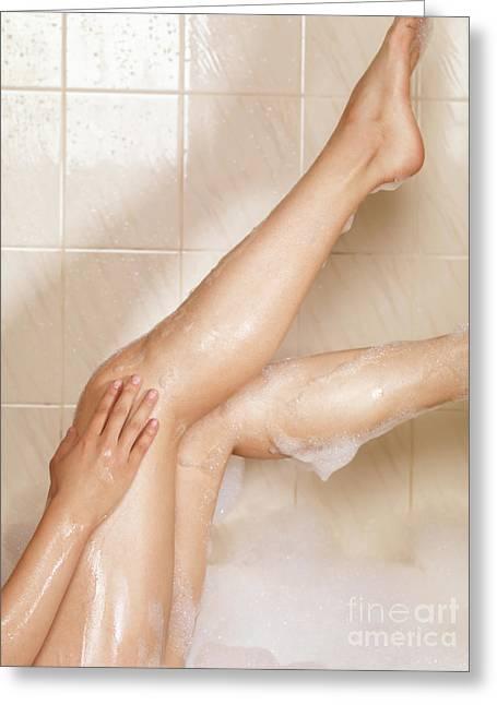 Woman Taking A Bath Greeting Card by Oleksiy Maksymenko