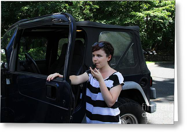 Safety Test Greeting Cards - Woman Using A Breathalyzer Greeting Card by Photo Researchers, Inc.