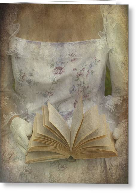 Body-parts Greeting Cards - Woman With A Book Greeting Card by Joana Kruse