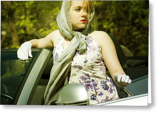 Bandana Greeting Cards - Woman With Convertible Greeting Card by Joana Kruse