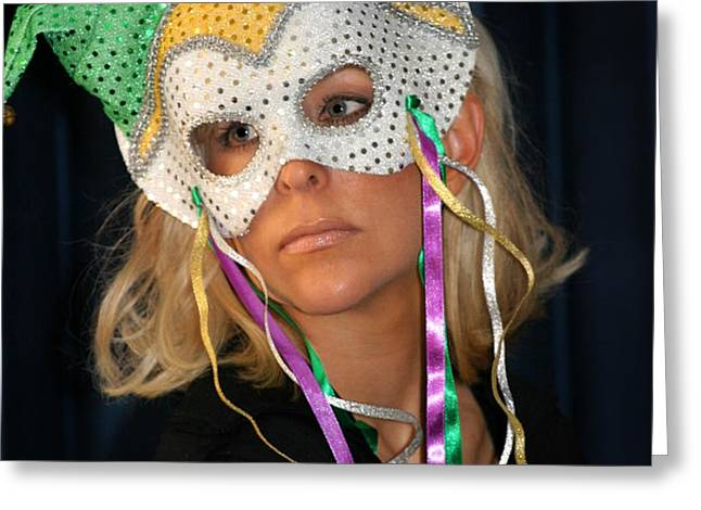 Woman With Mask Greeting Card by Henrik Lehnerer