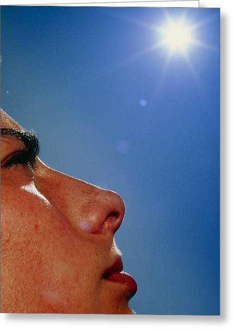 Suntanning Greeting Cards - Womans Face With sun Greeting Card by David Parker