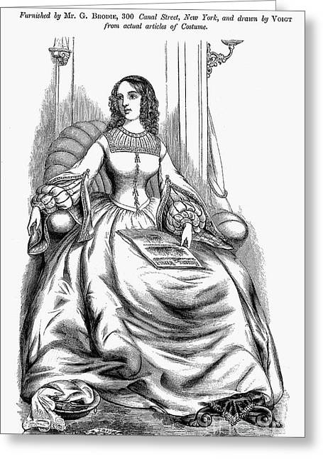 Corset Dress Greeting Cards - Womens Fashion, 1860 Greeting Card by Granger