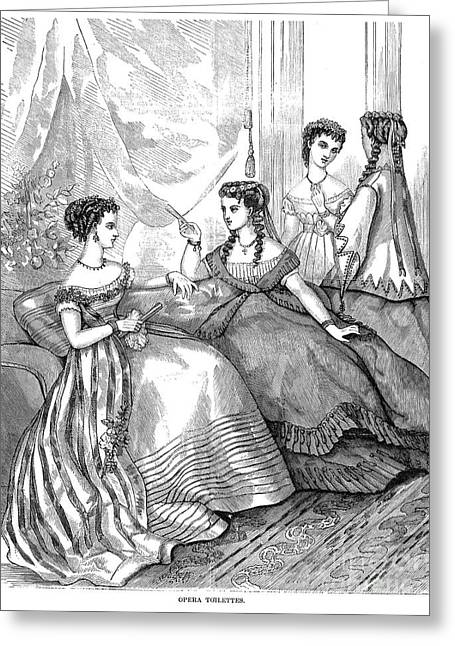 Dressing Room Greeting Cards - Womens Fashion, 1867 Greeting Card by Granger