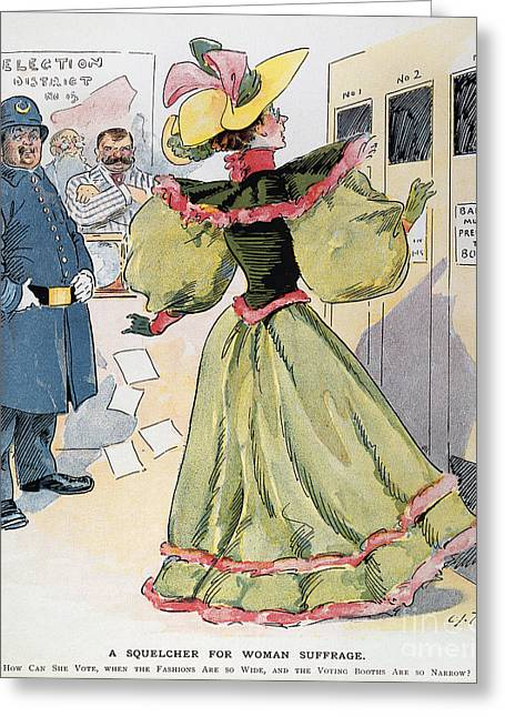 Women Suffrage Greeting Cards - Womens Rights Cartoon Greeting Card by Granger