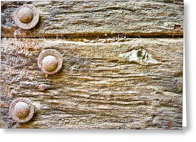 Old Panelled Door Greeting Cards - Wooden background Greeting Card by Tom Gowanlock