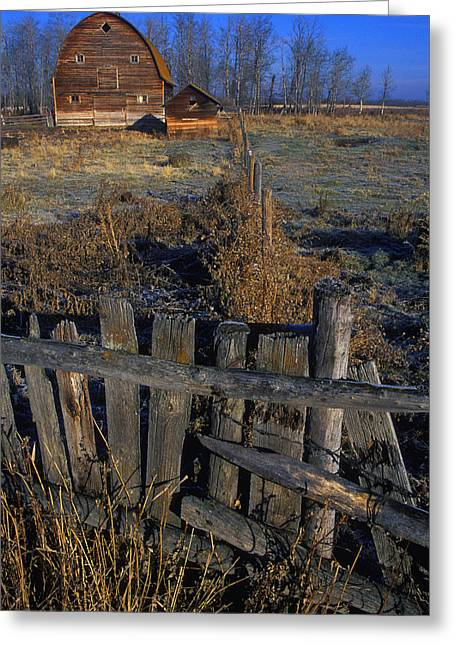 Outbuildings Greeting Cards - Wooden Fence With Old Barn In Background Greeting Card by Jason Witherspoon