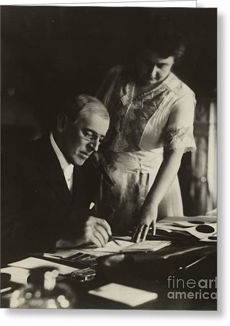 Twenty-eighth President; United States Of America; Us; Usa; American; 28th; Presidential; Unfinished Greeting Cards - Woodrow Wilson, 28th American President Greeting Card by Photo Researchers