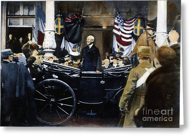 American Automobiles Greeting Cards - Woodrow Wilson In Paris Greeting Card by Granger