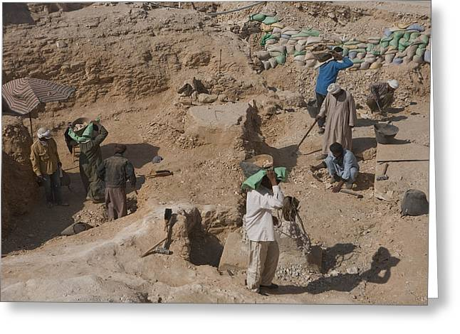 Pharaoh Greeting Cards - Workmen Excavate The Valley Greeting Card by Taylor S. Kennedy