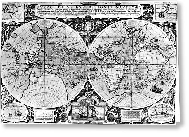 World Map, 16th Century Greeting Card by Granger