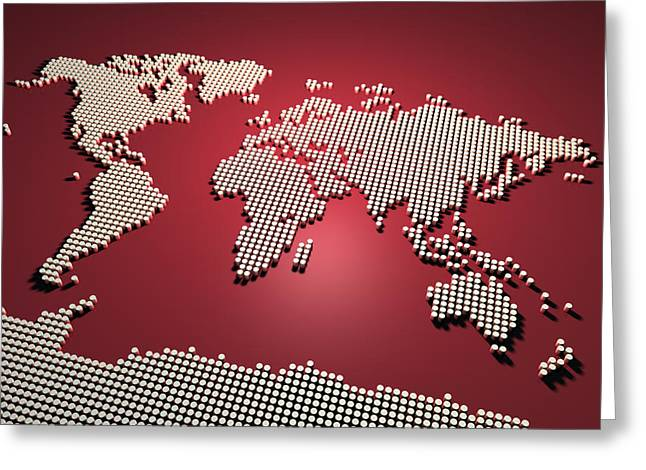 Maps Greeting Cards - World Map in Red Greeting Card by Michael Tompsett