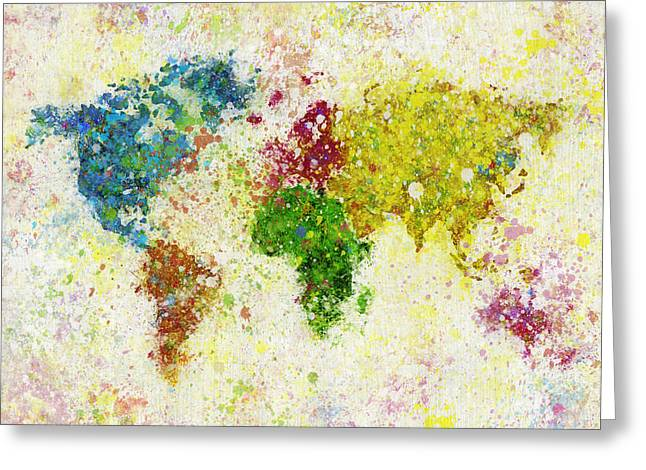 Grunge Pastels Greeting Cards - World Map Painting Greeting Card by Setsiri Silapasuwanchai