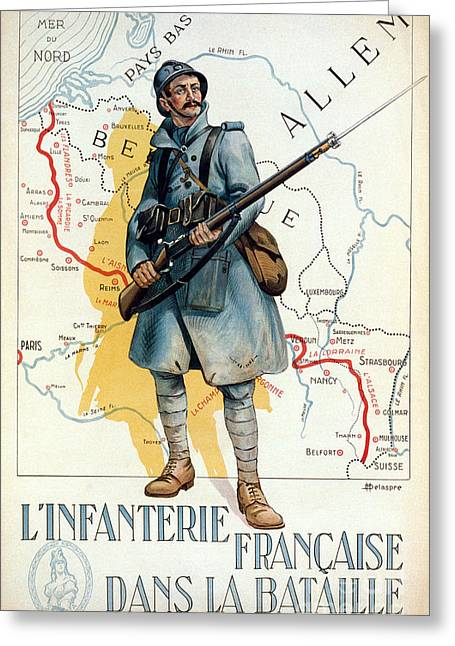 Bayonet Greeting Cards - World War I: French Poster Greeting Card by Granger